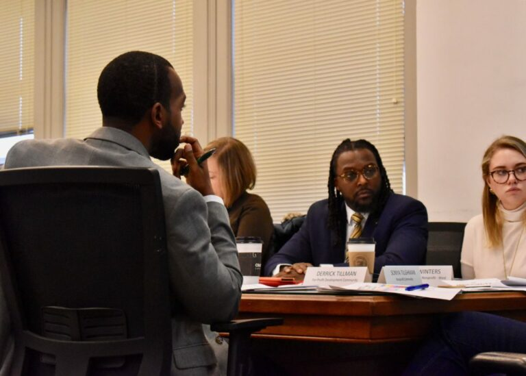Housing Opportunity Fund advisory board members Derrick Tillman (left), Joanna Deming, Knowledge Build Hudson and Megan Winters at a Dec. 10, 2019 meeting on the fund's 2020 draft allocations budget.