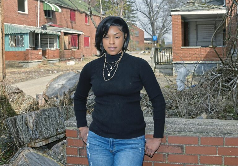Yasmine Brooks, president and founder of Impact Clairton, at Century Townhomes on March 9. She is leading the nonprofit group that wants to acquire and renovate the housing complex.